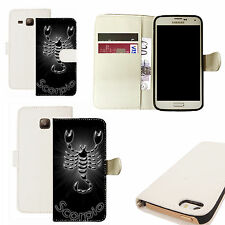 pu leather wallet case for majority Mobile phones -  black scorpio white