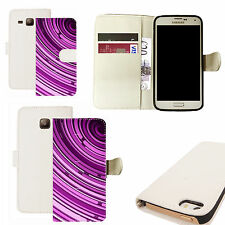 pu leather wallet case for majority Mobile phones - purple tunnel white
