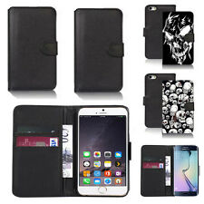 black pu leather wallet case cover for apple iphone models design ref q757