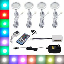 4 RGB White LED Under Cabinet Lighting Puck Lights with Wireless Remote Control