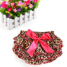 Baby Girls Pink Leopard Bowknot Ruffle Satin Pants Bloomers Nappy Diapers Covers