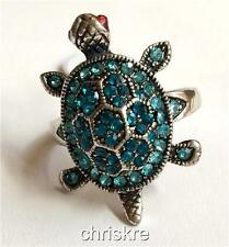 Silver Plated Sea Turtle Cocktail Ring London Blue Crystal Size 7 9 USA Seller