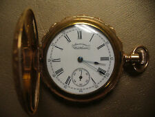 ANTIQUE AMERICAN WALTHAM 10k GOLD FILLED HUNTER CASE POCKET WATCH CIRCA 1892