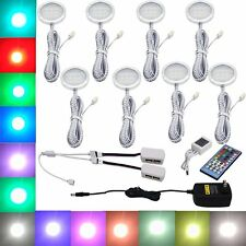 8 RGB+White LED Under Cabinet Lighting Puck Lights with Wireless Remote Control