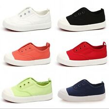 Baby Childrens Big Kids Casual Breathable Canvas Shoes Elastic Slip-On Sneaker