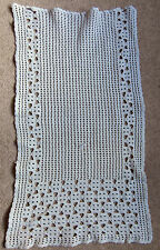 ART DECO HAND CROCHET  LACE WHITE COTTON  CHAIR BACK COVER ~ OPENWORK PANEL