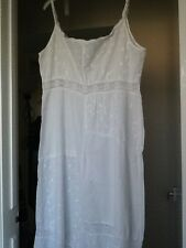 white cotton lawn long night dress patchwork lace and embroidered cotton vintage