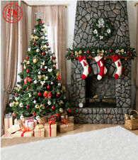 CHRISTMAS FIREPLACE TREE BACKDROP BACKGROUND VINYL PHOTO PROP 5X7FT 150x220CM