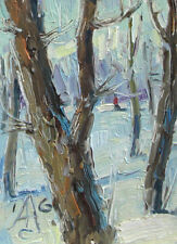 TREE IN PARK ACEO landscape by Sergey AVDEEV, Original oil Painting RUSSIAN ACEO