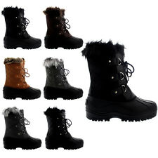 Ladies Waterproof Hiking Rambling Hiker Mid Calf Moutain Faux Fur Boot All Sizes