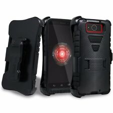 FOR MOTOROLA DROID MAXX/ULTRA TRI-SHIELD COMBO SKIN CASE STAND BELT CLIP HOLSTER