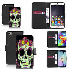 pu leather wallet case for many Mobile phones - grining flower skull