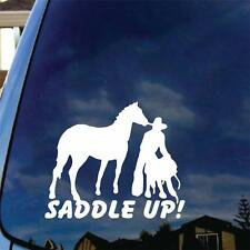 Saddle Up Vinyl Decal Sticker Cowboy Cowgirl Horse Ranch Farm Stables Love Cute