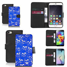 pu leather wallet case for many Mobile phones - blue multi skull
