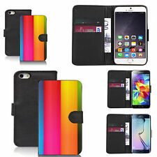 pu leather wallet case for many Mobile phones - rainbow apex