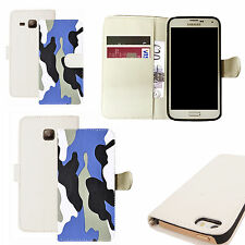 pu leather wallet case for majority Mobile phones - blue camoflage white