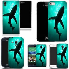 gel case cover for many mobiles - aqua shadow shark silicone