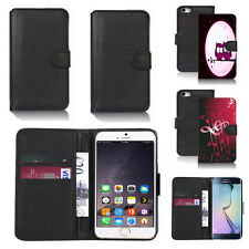 black pu leather wallet case cover for many mobiles design ref q486