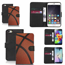 pu leather wallet case for many Mobile phones - traditional basketball