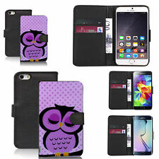 pu leather wallet case for many Mobile phones - purple sleepy owl