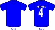 ROYAL BLUE FOOTBALL T SHIRT- TEAM COLOURS NAME & NUMBER ON BACK - ADULTS & KIDS