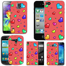gel case cover for many mobiles - blush many lots hearts silicone