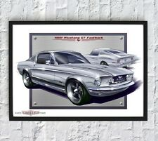 1968 Ford Mustang GT Fastback American Muscle Car Shelby Eleanor Poster Print