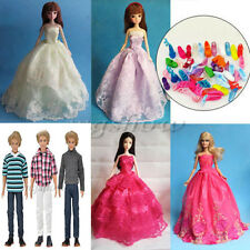 Handmade Doll Clothes Wedding Dresses &10 Shoes For Barbie Dolls Christmas Gifts