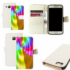 pu leather wallet case for majority Mobile phones - rainbow swoosh white