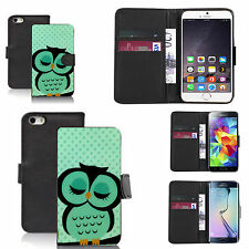 pu leather wallet case for many Mobile phones - green sleepy owl