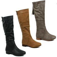 WOMENS LADIES CASUAL FLAT MID CALF SLOUCH TASSLE BOOTS SHOES SIZE 3-8