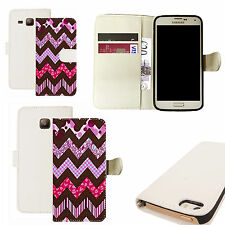 pu leather wallet case for majority Mobile phones - purple zealous white