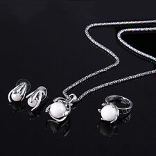 Women Alloy Chain Faux Pearl Pendant Necklace Earrings Ring Jewelry Set Newest
