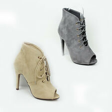 WOMENS LADIES HIGH STILETTO HEEL PEEP TOE LACE UP ANKLE BOOTS SHOES SIZE 3-8