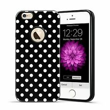 Hybrid Polka-dots Candy TPU Hard Case Cover For iPhone SE 5 5S 6 6S Plus Black