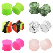 12pcs Double Flare Ear Gauge-Saddle Stone Ear Tunnel Plug&Silicone Ear Piercing