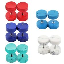 10pcs-Fake Ear Tunnels Plugs-Stone Ear Expander Gauge-Organic Cheater Ear Skin