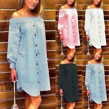Celmia Women Sexy Off Shoulder Long Sleeve Summer Beach Button Shirt  Mini Dress