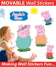 Personalised Peppa Pig Movable Wall Sticker Decal Easy Remove / Reuse