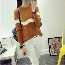 Loose Knitwear Women Sweater Knitted Pullover Round Neck Long Sleeve Korean Warm