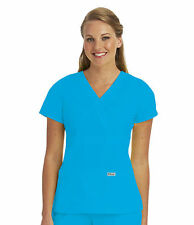 Greys Anatomy 4153 Blueberry Junior Fit  3 Pocket Mock Wrap Scrub Top