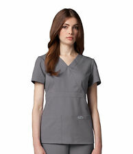 Greys Anatomy 4153 Nickel Grey Junior Fit  3 Pocket Mock Wrap Scrub Top