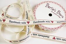 Bertie's Bows 'handmade with love' Union Jack Heart Ribbon - 1m & 2m - 3 FOR 2
