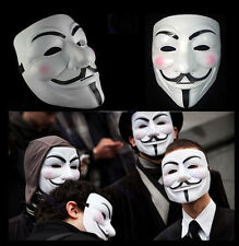 10/5 White V-Vendetta Movie Costume Mask Guy Fawkes Anonymous Halloween Cosplay