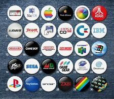 Retro Gaming & Console 38mm logo Badges Classic 80s cult collectable computing