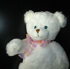 Musical White Teddy Bear, 14 Inch Plush Stuffed Animal With Beautiful Blue Eyes
