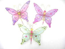 GISELA GRAHAM CHRISTMAS MULTICOLOUR SHEER SEQUINS BUTTERFLY DECORATION LARGE