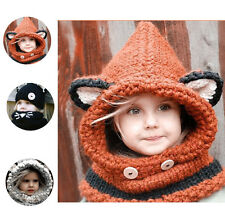 Baby Girl Kids Toddler Winter Warm Fox Hooded Scarf Hat Wool Knitted Crochet Cap