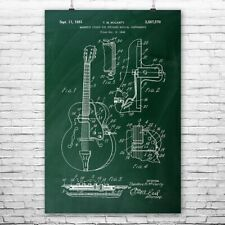 Gibson Guitar Magnetic Pickup Poster Patent Art Print Gift Player Guitarist Band