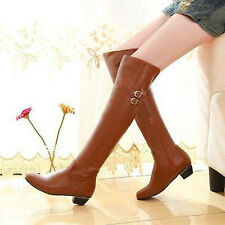 Fashion Womens Shoes Pull On Knee High Riding Boot Buckle Faux Leather US Size